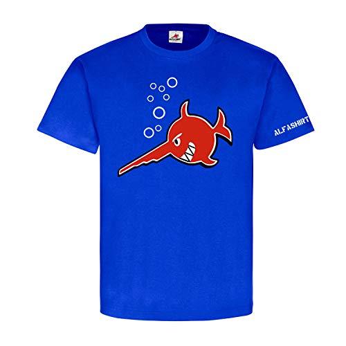Böser Sägefisch lachender Schwert-Fisch Marine Taucher U-Boot-96 Wappen Alfashirt T-Shirt #22338, Größe:XL, Farbe:Royal