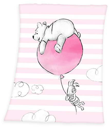 Herding Winnie Pooh Microfaser-Flauschdecke, Polyester, rosa, 75 x 100cm