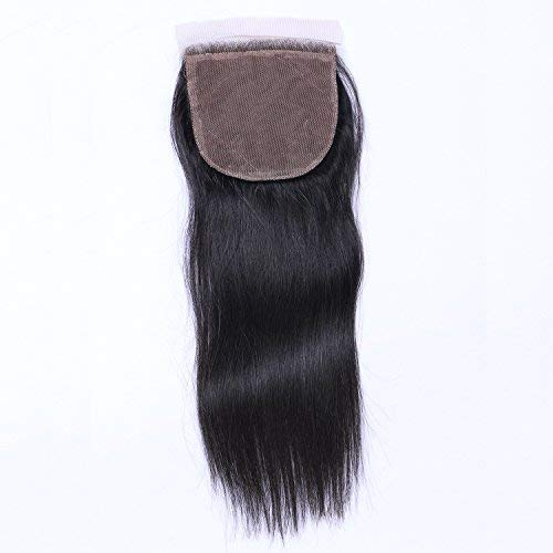 Beata Hair Free Part Silk Closure Straight 4x4inch Silk Base Top Closure 130% Density 8A Virgin Brazilian Hair Natural Color (12inch)