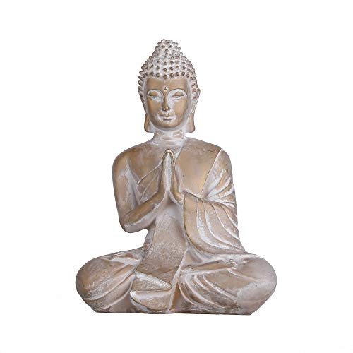 TERESA'S COLLECTIONS Praying Buddha Statue, Meditating Buddha Serene Decorative Figurine for Home Office Tabletop Desktop Outdoor Garden Patio Yard Decorations, Yoga Zen Decor (6.3 Inch)