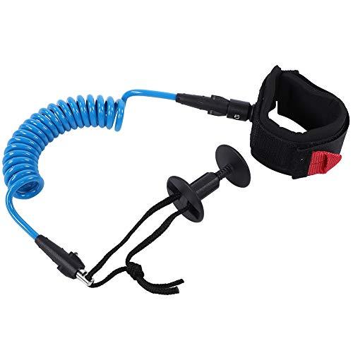 Focket Bodyboard Leash, cómodo y Ligero, Acolchado, puño de Neopreno, 5.5 mm en Espiral con Bolsa de Cintura (Azul)