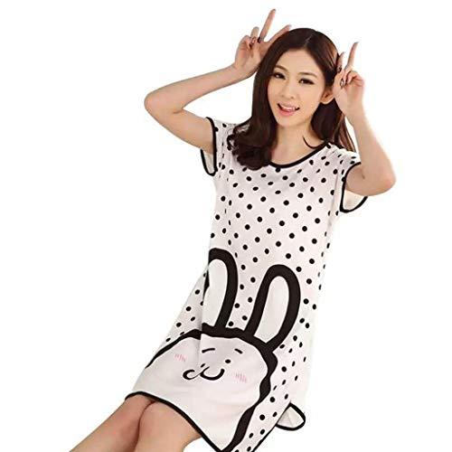 ruiruiNIE Frauen Student Sommer Milch Faser Pyjamas Kleid Kurzarm Übergroße Cartoon Tier Eichhörnchen Streifen Gedruckt Gewölbter Saum Tunika Lose Nachtwäsche 11 Styles - Q