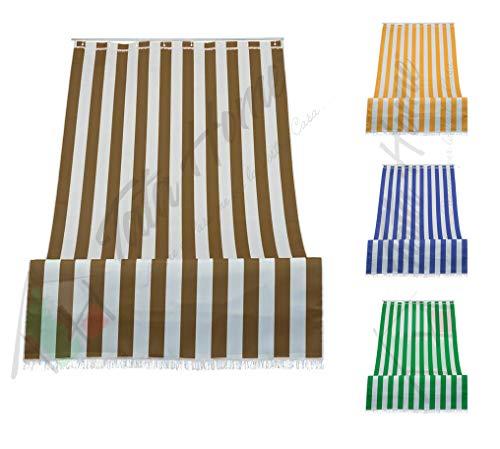 Tenda da Sole a Righe per Balcone Veranda o Terrazzo con Anelli e Ganci Tessuto Resistente da Esterno Misura cm 280x300 Colore Marrone