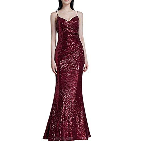 ZLDDE Pailletten Elegant Partykleid Cocktailkleid V-Halsausschnitt Abendkleid 48