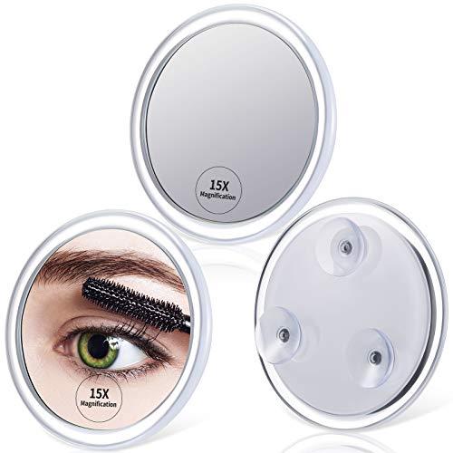 3 Stück 15X Vergrößerung Spiegel mit Montage 3 Saugnäpfen, Mini Rund Spiegel Tragbare Lupe für Einfache Makeup Augenbrauen Mitesser Makel Entfernung Kontaktlinsen (3,93 Zoll)