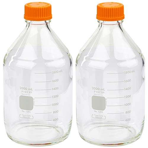 Corning PYREX #1395-2L, 2000ml Round Media Storage Bottle, with GL45 Screw Cap (Pack of 2)