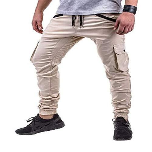 Pantalones de Lona para Hombre, con múltiples Bolsillos, con pies de Haz, Pantalones Cargo, con cordón, Cintura elástica, Pantalones de Combate para Trabajo al Aire Libre Medium