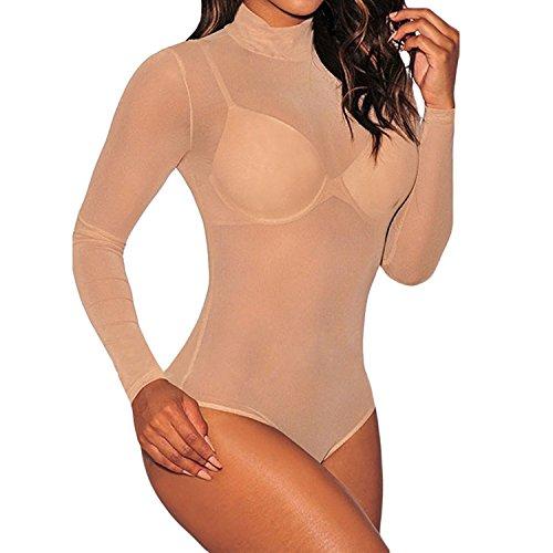 LAEMILIA Damen Bodys Rollkragen Langarm Bodysuit Overall Mesh Tops Romper Shirts für Clubwear (M, Hautfarbe)