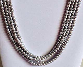 8 inch strand of natural pearls 6 mm round smooth beads for jewelry making - pearls - grey pearls, natural fresh water round pearls, natural pearls, pearl necklace, 6mm, 8 inch strand, 26 pieces, wholesale price