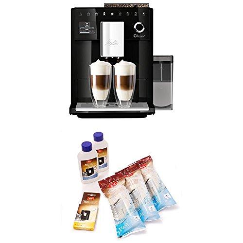Melitta CI Touch F630-102, Kaffeevollautomat mit Milchbehälter, Flüsterleises Mahlwerk, One Touch Funktion, Schwarz + 6er Pflegeset für Kaffeevollautomaten, Wasserfilter, Flüssigentkalker