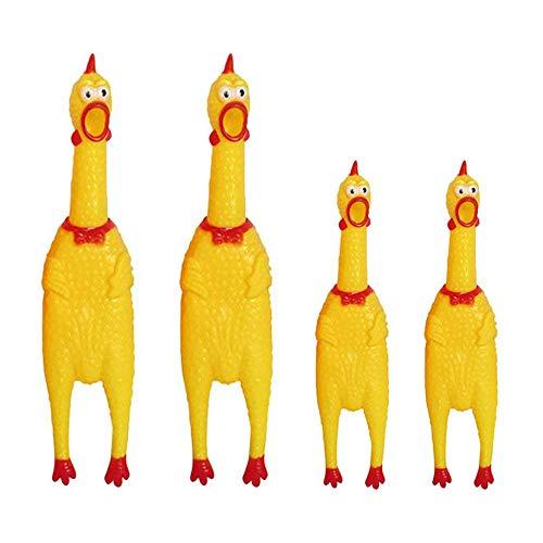 Amasawa 4 Piezas Pollo Gritando,Chillones Pollo de Juguete,Gritando Pollo Juguete Perro Juguete para Divertido,Squeeze Shrilling Screaming Chicken Funny Toy Gift Chicken Toy (2 Tamaños)