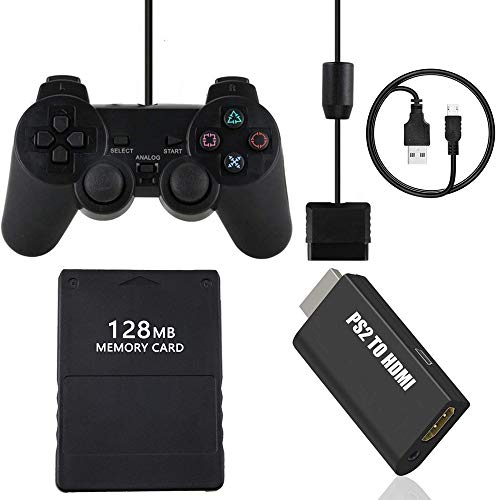 TFSeven Wired Controller for PS2 Playstation 2 Dual Shock + 128MB High Speed Game Memory Card + PS2 to HDMI Converter Adapter Accessories Kits