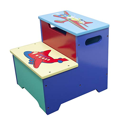 WODNEY Tritthocker aus Holz für Kinder | Kindertritthocker mit Aufbewahrung | Tragbare & leichte Double Step Hocker für Kleinkinder Kinder Kinder Jungen Mädchen (Blau)