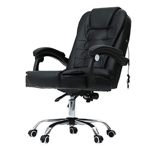 CO-Z Chaise Confortable de Bureau de Massage, Fautueil de Bureau en Similicuir avec Accoudoirs Réglable, Siège d'Ordinateur avec Roues (sans Repose-Pied)