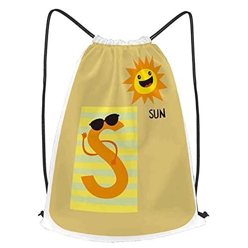 fudin Impermeable Bolsa de Cuerdas Saco de Gimnasio s sol alfabeto flashcards plantilla bebé Deporte Mochila para Playa Viaje Natación