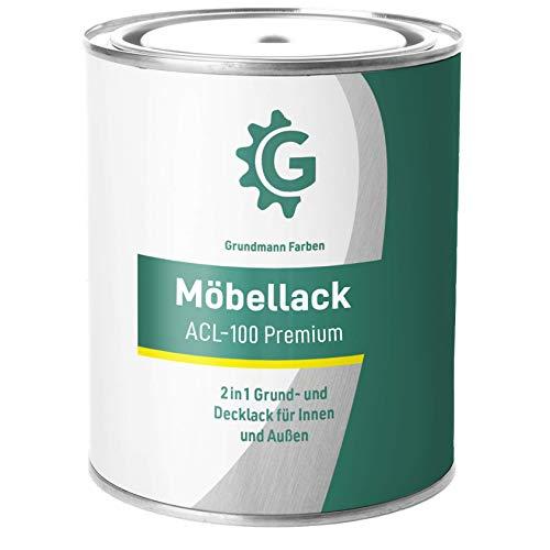 GRUNDMANN Möbellack - 0,7 Kg Seidenmatt Weiss - Umweltfreundliche Möbelfarbe - 2in1Holzfarbe & Holzanstrich für alle Möbel Innen und Außen - Für Holz, Metall & Kunststoff - RAL 9010 Reinweiss