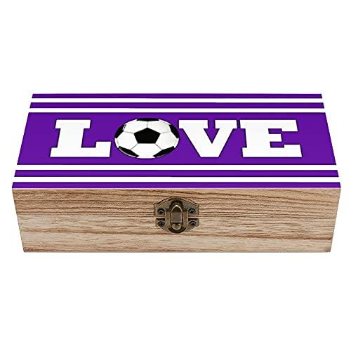 Caja decorativa de madera para el tesoro con diseño de futbol Love, colores lindos, caja de regalo y caja de regalo, caja de té de almacenamiento de 7.9 x 3.7 x 2.3 pulgadas