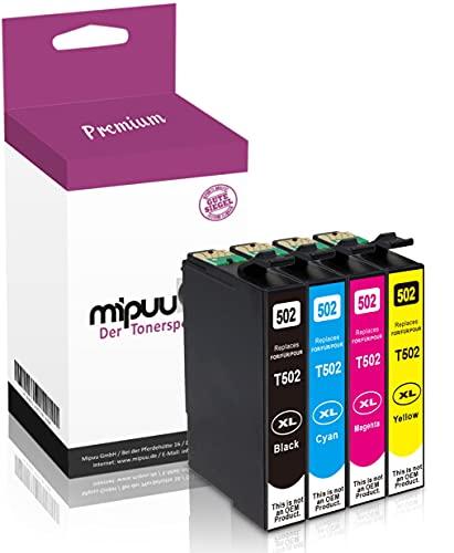 Mipuu - 4 tintas compatibles con Epson 502 XL negro, cian, magenta y amarillo para Expression Home XP-5100 XP-5105 Workforce WF2860 WF2860DWF