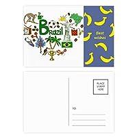 ブラジル愛の心の風景の国旗 バナナのポストカードセットサンクスカード郵送側20個