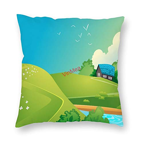VinMea Decorative Pillow Covers House Lake Landscape Cushion Covers for Sofa Bedroom Home Office Decor 18x18 Inch