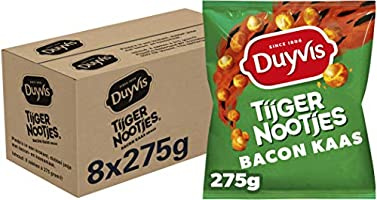 Duyvis Tijgernootjes Bacon Cheese, Doos 8 stuks x 275 g