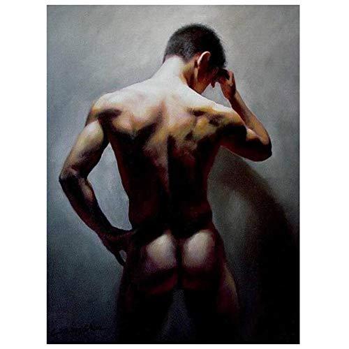 Diy Malen Nach Zahlen Kits Für Erwachsene Leinwand Ölgemälde Set Anfänger Mit Pinsel Und Acrylpigment - Nackter Mann 40X50Cm