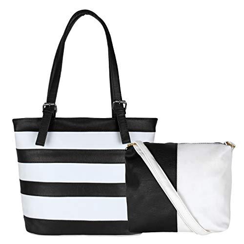 Don Cavalli Women's PU Leather Handbag (White & Black)