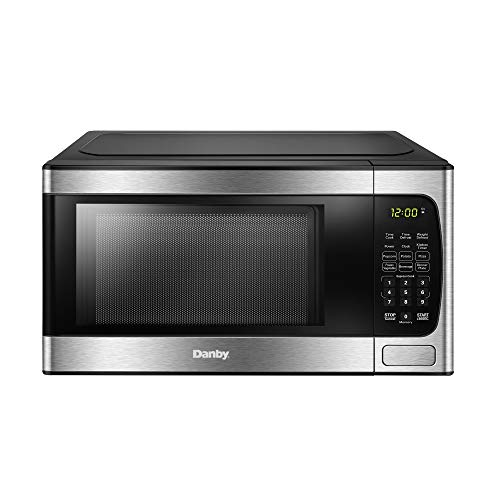 Danby DBMW0924BBS 0.9 Cu.Ft. CounterTop Microwave In Black Stainless Steel - 900 Watts, Small Microwave With Push Button Door