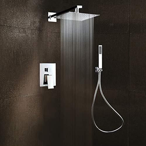 PDXHS Duschsystem Dual Funktionen Duschsystem Unterputz Duschset mit Duschkopf Kopfbrause Regendusche Handbrause -einfache Installation - umweltfreundlich,10inch