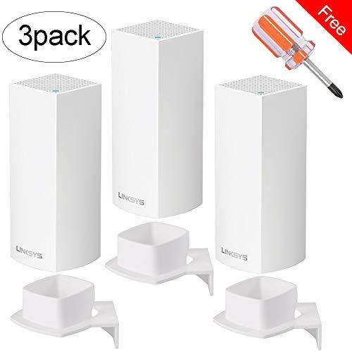 BECEMURU muurbeugel standaard houder stabiliteit ABS muurbeugel standaard router Guard voor Linksys Velop Tri-Band Whole Home WiFi Mesh System Router White verpakking van 3