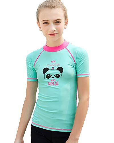 DaobaKIDS Mädchen UPF 50+ UV Schutz Kurzarm Bade Shirt Rashie für Kinder & Jugendliche Sonnenschutz Kleidung Badeanzug