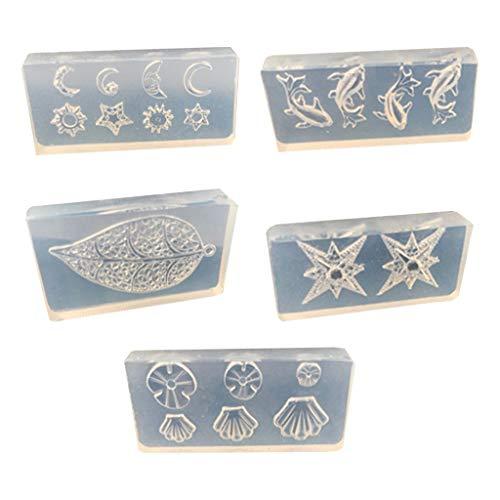 TEBI 5 unids/set cristal epoxi resina molde hojas flor estrella de mar concha uñas decoración DIY manualidades plantillas joyería herramientas