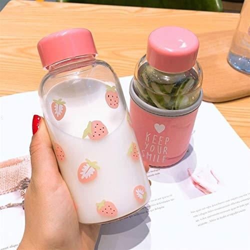 Wasserflasche Kawaii Erdbeere Wasserflasche Karikatur-netter transparenter Glas-Schale mit schützendem Fall Trinkflasche for Mädchen-Studenten-Geschenke (Capacity : 301 400ml, Color : Brown)