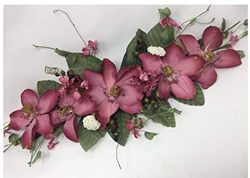 Wedding Flowers 2' Gold Trimmed Magnolia Dogwood Swag Silk Arch Home Party Decor (Mauve)