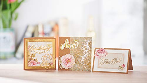 """VBS Mega-Set """"Vintage-Karten"""" Hochzeit Einladungskarten quadratisch aus braunem naturfarbenen Kraftpapier Kartengestaltung Etiketten Geschenkanhänger im Vintagestil basteln - 2"""