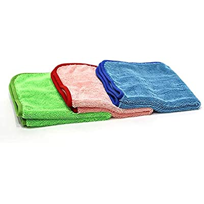 N / A Car Wet Towel 28in × 36in 600 GSM Drying Cloth Microfiber Towel for Car Care {2Pack-Green +Black