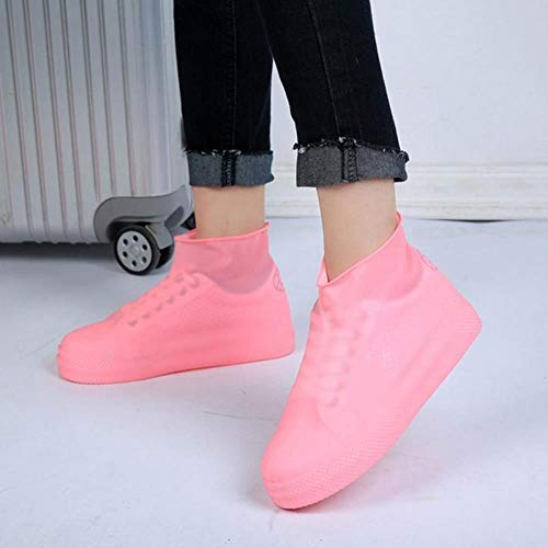 YJQ Waterproof Rainroof Shoes Covers Rubber Outdoor Slip Resistant Rain Boot Overshoes Men Women Cycling Shoes,Pink,M