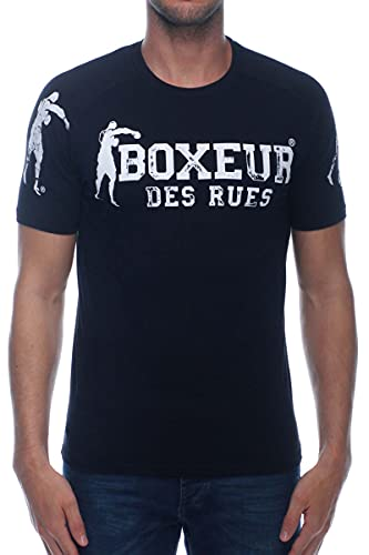 BOXEUR DES RUES - Tshirt Nera con Patch sulle Spalle, Uomo, Black, XXL