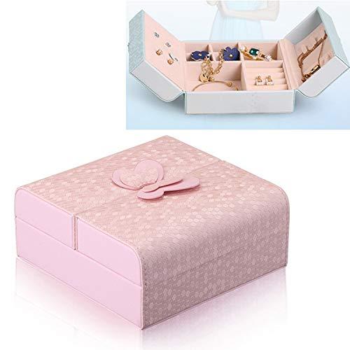 Joyería de la Caja, Caja de joyería Linda, Joya Anillo Collar del Organizador del almacenaje de Cuero sintético Gabinete Caja del Regalo, Tamaño: 5 x 5 x 3 Pulgadas, Monsteramy (Color : Pink)