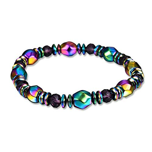 Mabor Magnetic Weight Loss Bracelet, 4Pcs Magnetic Therapy Stretch Stone Beaded Bracelet Balancing Multi Color Stretch Beaded Bracelets for Natural Pain Relief and Weight Loss