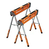 Bora Portamate Speedhorse XT Adjustable Height Sawhorse Pair- Two pack, 30-36 inch height adjustable Legs, Metal Top for 2x4, Heavy Duty Pro Bench Saw Horse for Contractors, Carpenters - PM-4550T