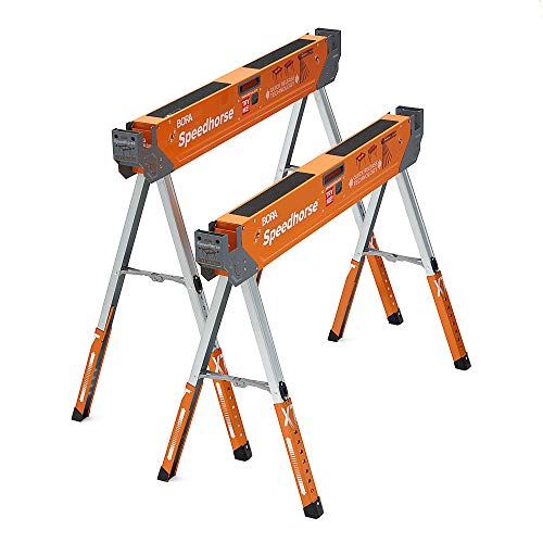 Bora Portamate Speedhorse XT Adjustable Height Sawhorse Pair- Two pack, 30-36 inch height adjustable Legs, Metal Top for 2x4, Heavy Duty Pro Bench Saw...