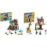LEGO Creator 3 In 1 Surfer Beach House, Faro E Casa Con Piscina, Costruzioni Per Bambini & Creator 3 In 1 Casa Sull'Albero Del Safari, Biplano E Catamarano, Giocattoli Per Bambini Con Barca