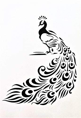 Boutique d'isacrea Schablone aus Kunststoff, 18 x 12 cm, Pfau