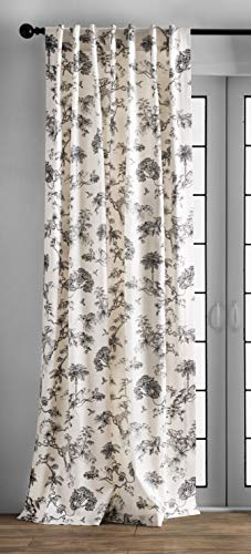 Maison d' Hermine Bonobo 100% Cotton Curtain One Panel for Living Rooms Bedrooms Offices Tailored with a Rod Pocket and Loop for Easy Hanging (Grey, 50 Inch by 96 Inch).