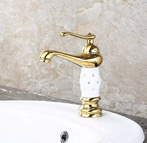 ZWJ-JJ Titanium Jade-Hahn im europäischen Stil Vergoldeter Waschbecken Wasserhahn mit warmem und kaltem Misch Bassin-Hahn Schönen praktischen