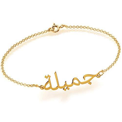 Personalisiertes arabischer namensarmband frauen 925 Sterling Silber armband mit anhänger für damen (Gold)