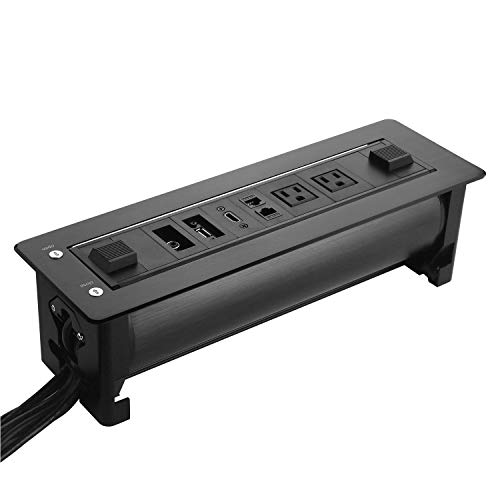 Motorized Automatic Flipping Socket Box for Conference Table,Conference Recessed Power Strip,Features USB Ports,AC Outlets,CAT 5E Internet and HDMI.Tabletop Multimedia Connectivity Box Power Hub