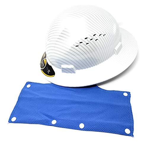 HDPE Hydro Dipped Full Brim Hard Hat with Fastrac Suspension White amp Silver