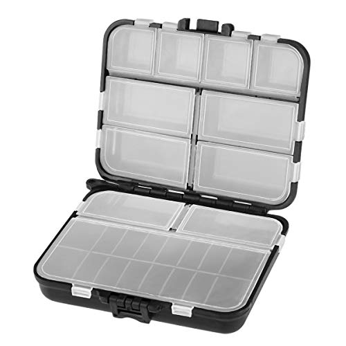 VORCOOL Fishing Tackle Box - Caja de plástico para pesca profesional, color negro